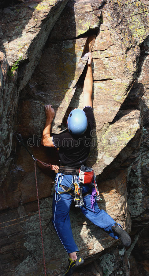 Male rock climber royalty free stock image