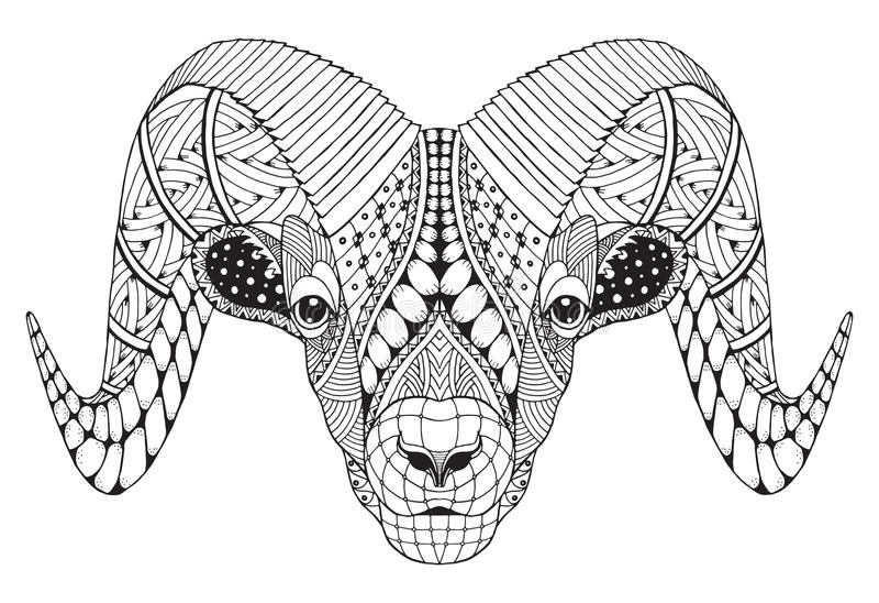 Male rocky mountain bighorn sheep ram standing zentangle stylize stock illustration