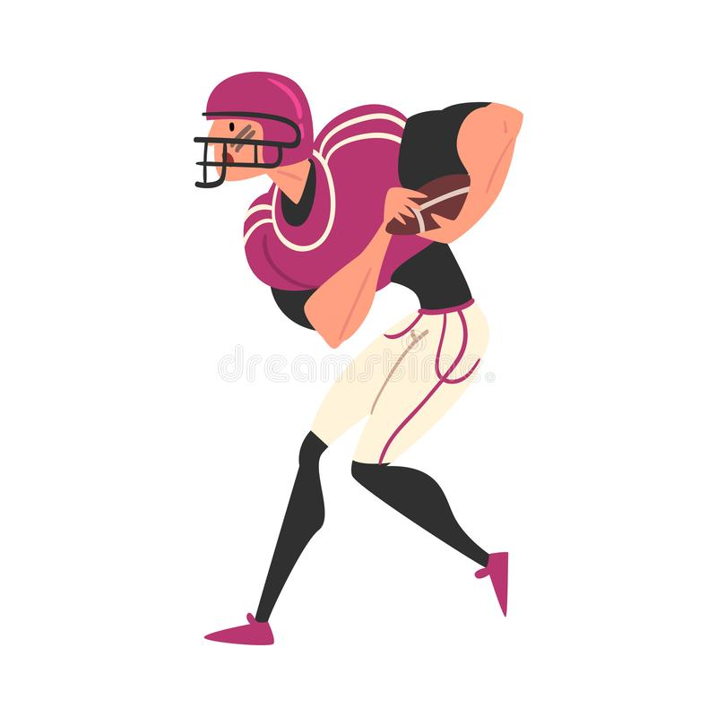 Male Rugby Player Character in Sports Uniform and Helmet, Active Sport Lifestyle Vector Illustration vector illustration