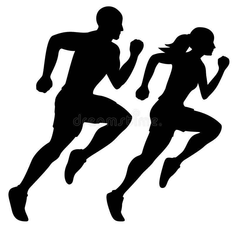 Male Runner and Female Runner Silhouette Isolated Vector illustration vector illustration
