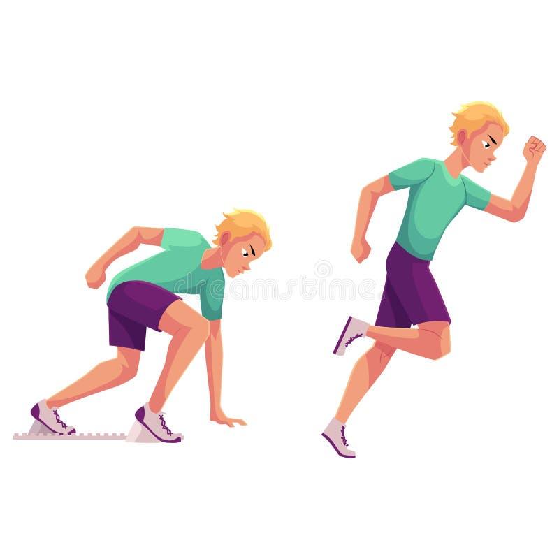 Male runner, sprinter, jogger, ready to start and running vector illustration