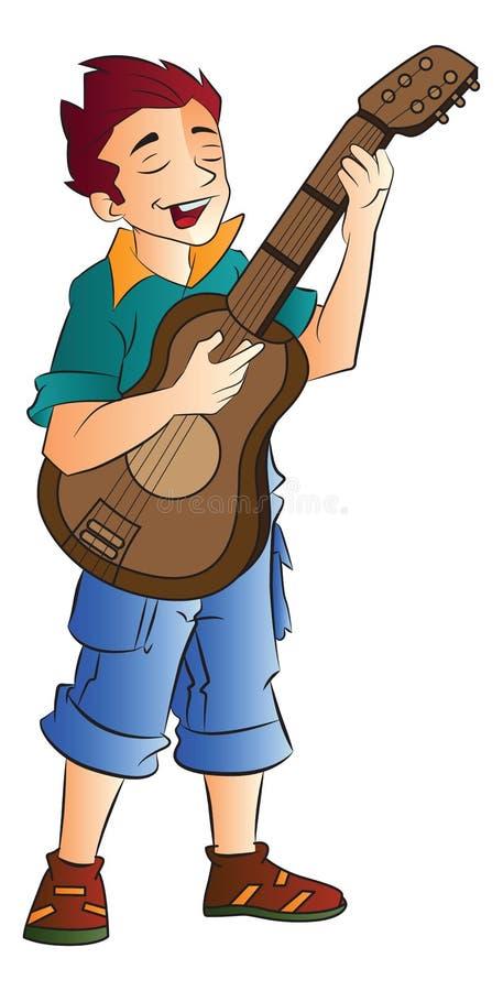 Male sångare och gitarrist, illustration vektor illustrationer