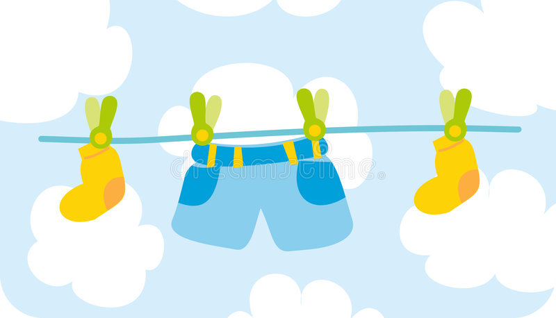 Male's baby cloth. Child's clothes are drying after washing stock illustration