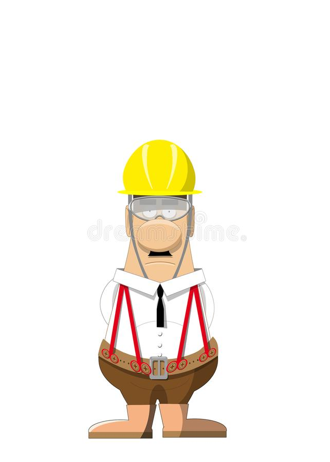 Male safety officer wearing a hard hat stock illustration