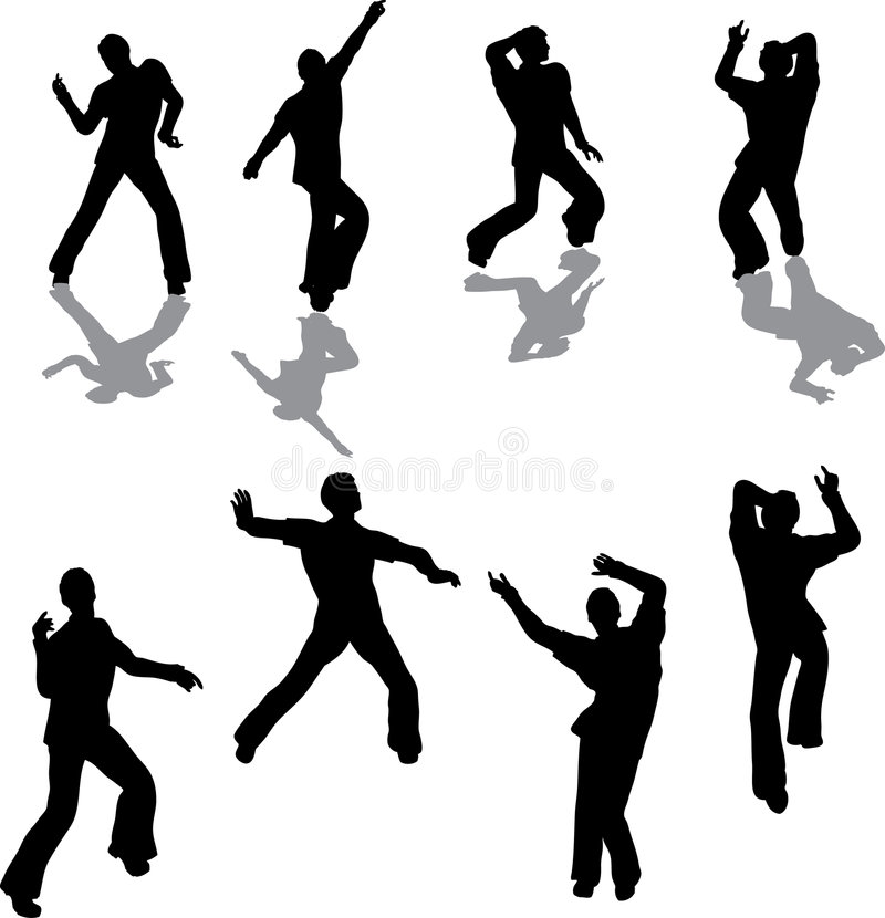 Male Salsa Dancer Silhouettes stock illustration