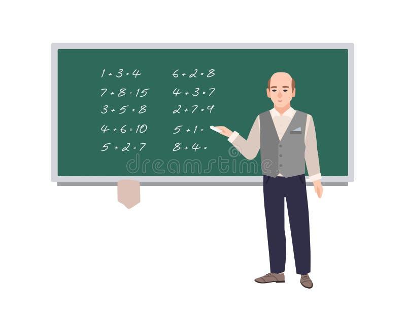 Male school math teacher writing mathematical expressions on green chalkboard. Smiling man teaching mathematics or stock illustration