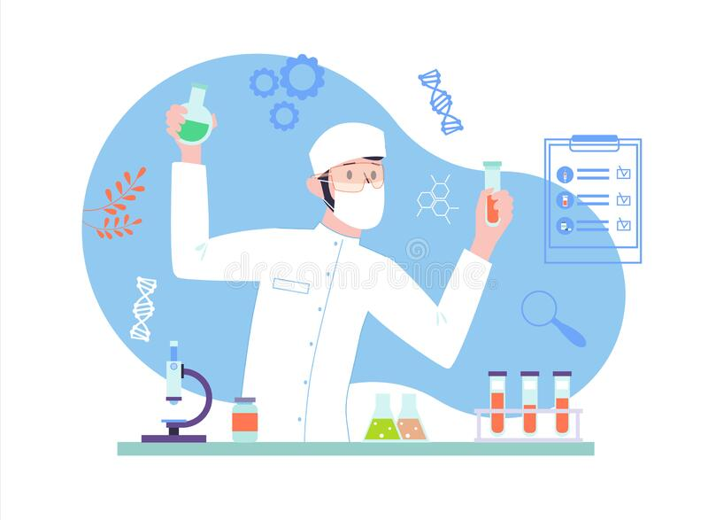 Male Scientist doing a medical research at the laboratory. Biochemical analysis with science equipment. Vector illustration in flat style royalty free illustration