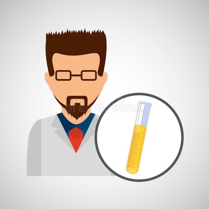 Male scientist laboratory icon test tube stock illustration