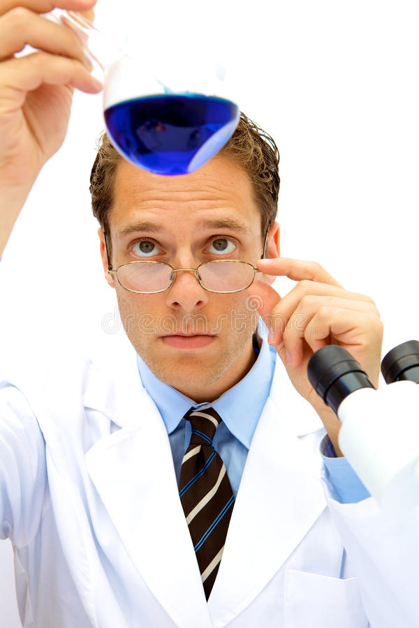 Download Male Scientist Working In A Lab Stock Image - Image of beaker, flask: 10640621