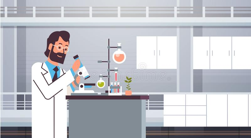 Male scientist working with microscope in laboratory doing research man making scientific experiments doctor in lab stock illustration