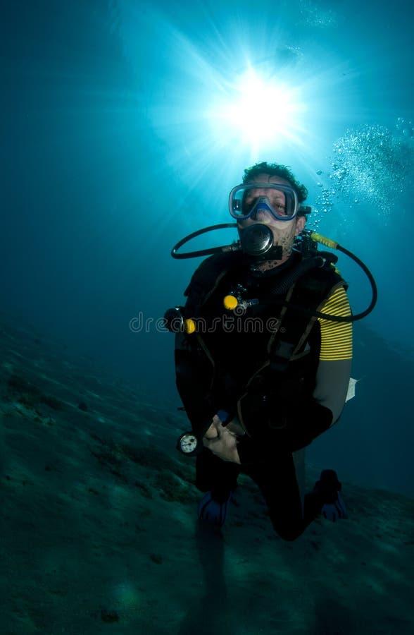 Male scuba diver royalty free stock photo