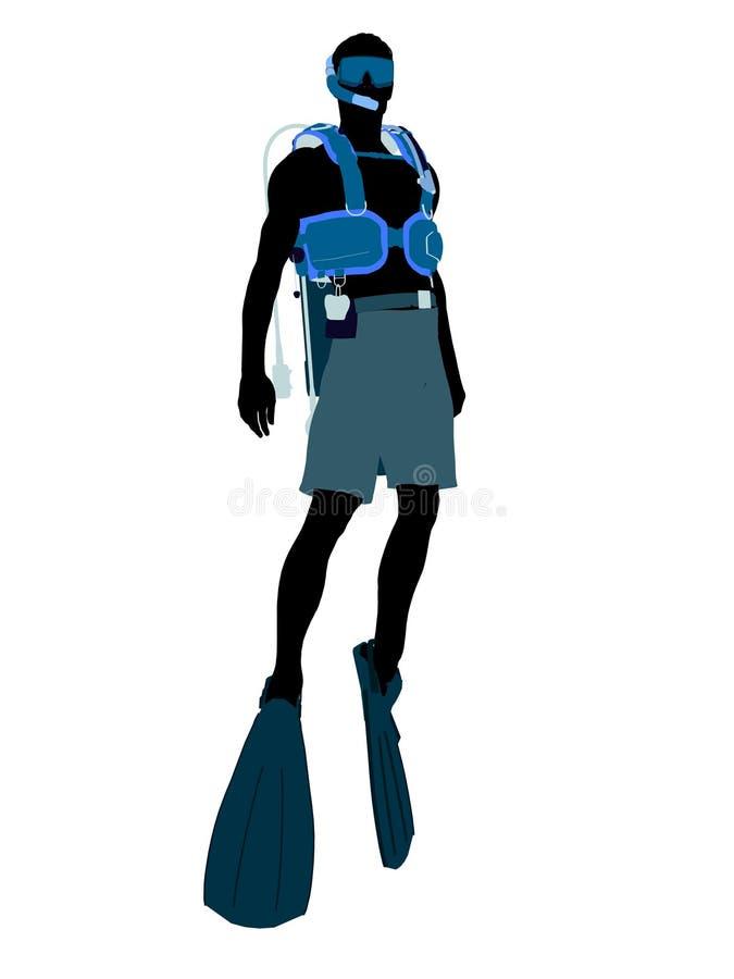 Male Scuba Diver Illustration Silhouette Royalty Free Stock Photo