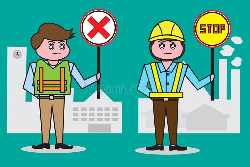 Male security guard , Holding signs and wearing a reflective safety vest is required To operation School and factory. royalty free illustration
