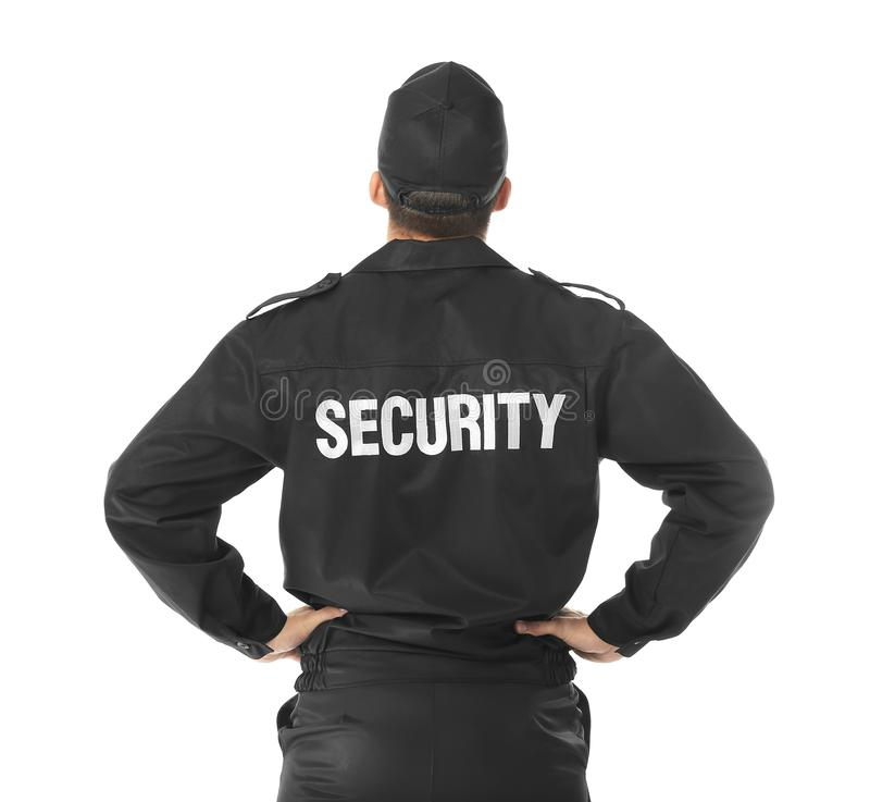 Male security guard. On white background stock photo