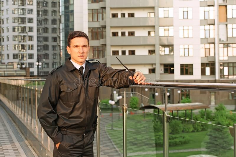 Male security guard, outdoors royalty free stock photography