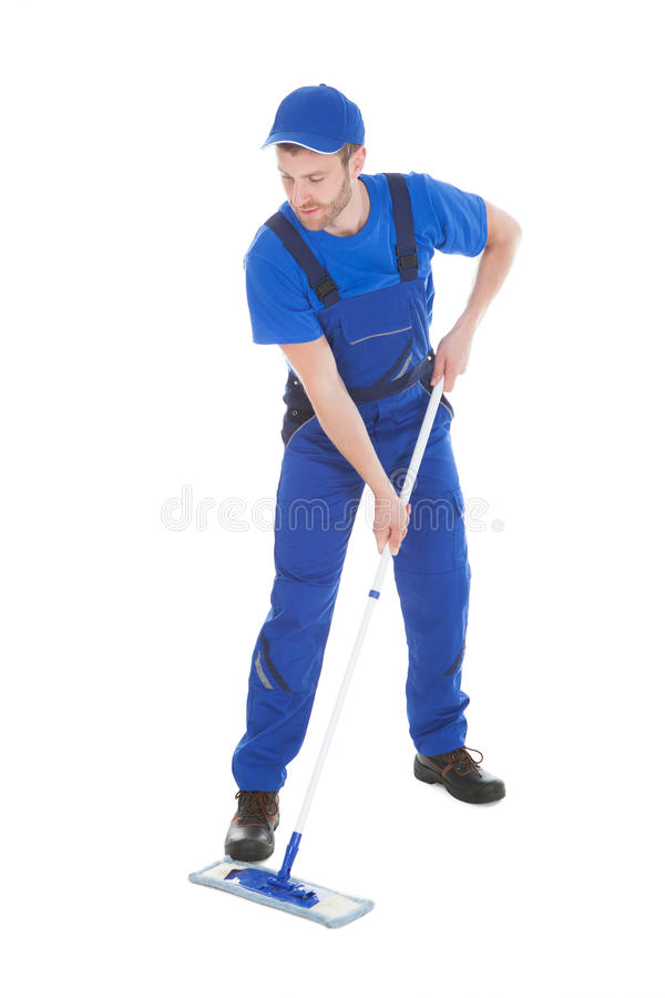 Free Male Servant Mopping Floor Over White Background Royalty Free Stock Image - 51609976