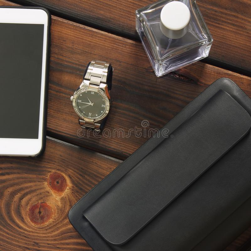 Male set. Men`s Accessories. Bag, Watch, Phone and Perfume stock photo