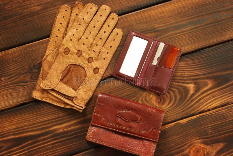 Male set. Men`s Accessories. Leather gloves, bag, hairbrush and mirror. Men`s Accessories. Leather gloves, bag, hairbrush and mirror. Male set stock photography