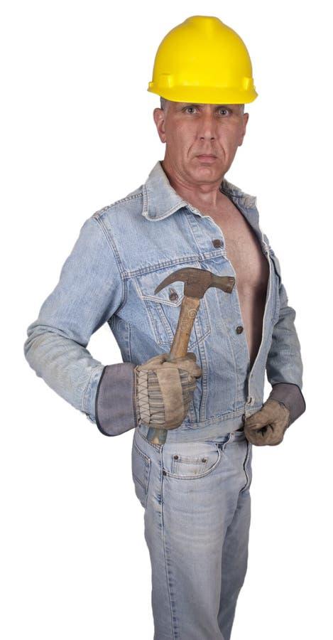 male sexig arbetare för konstruktionshandymanarbetare royaltyfri foto