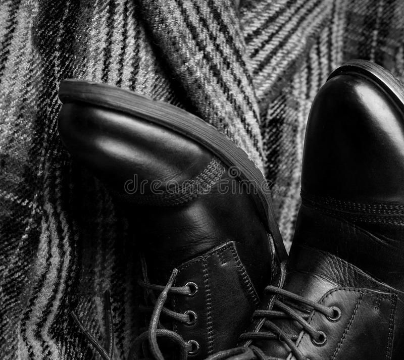 Male shoes and fashion clothes royalty free stock photo