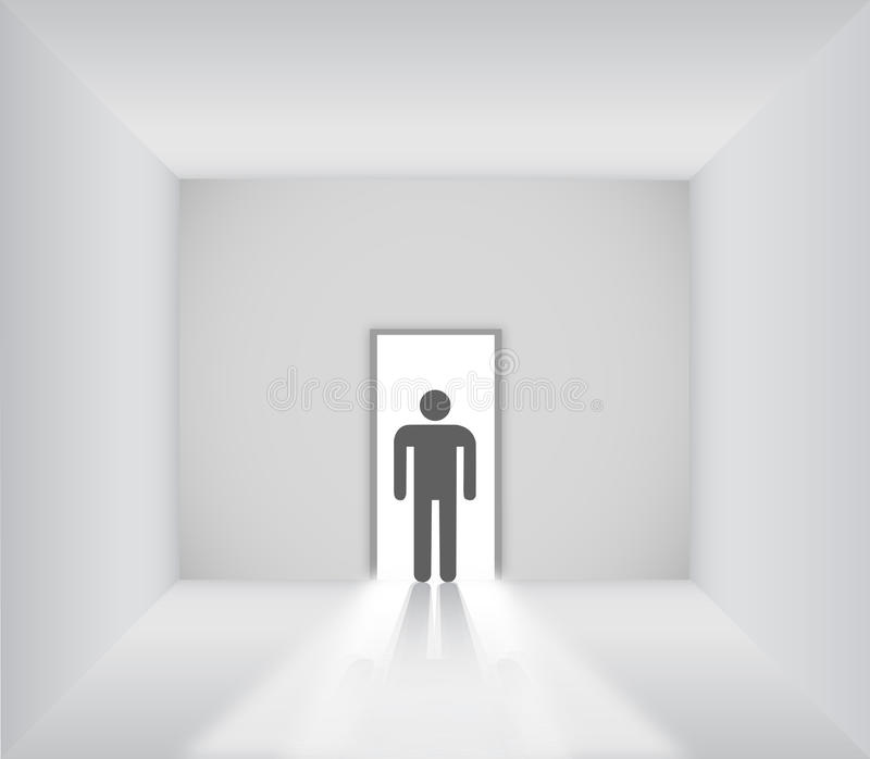 Male sign standing in the blank room with opened door royalty free illustration