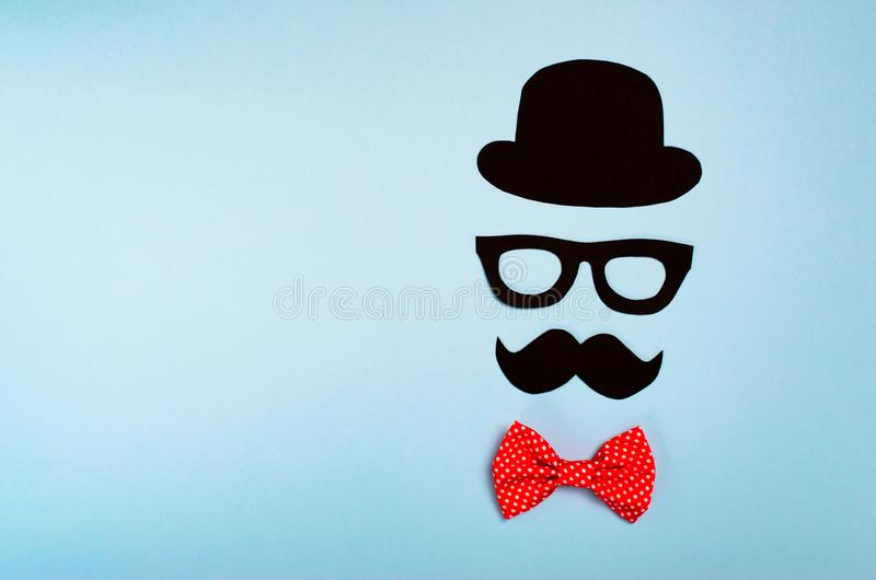 Male Silhouette, Mustache, Glasses and Hat, Intelligent Man stock image