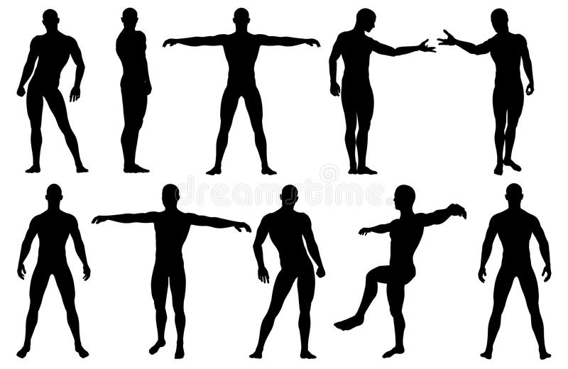 Male silhouettes posing. Made in 3d software stock illustration