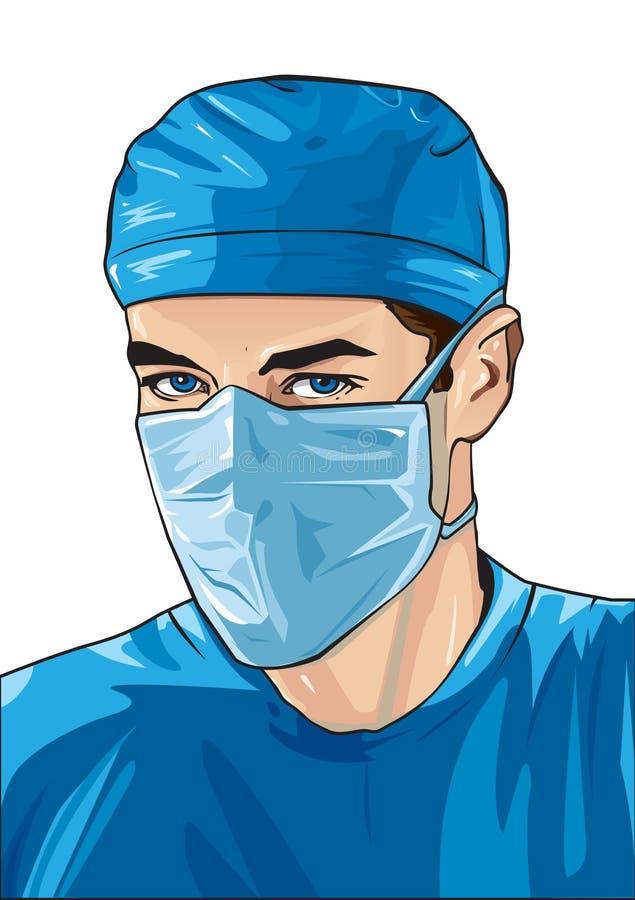 Male sjuksköterska med den kirurgiska maskeringen royaltyfri illustrationer