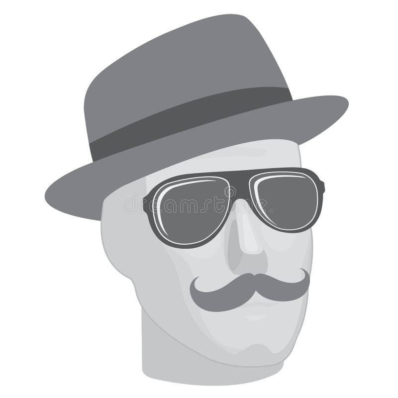 Male skyltdockahuvud i solglasögon och hatt stock illustrationer