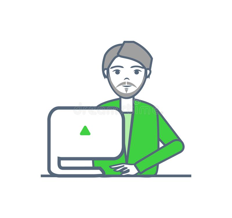 Male Smart Worker Laptop Gadget Isolated Vector. Male smart worker with laptop gadget isolated vector. Person busy with work on computer with triangle sign royalty free illustration