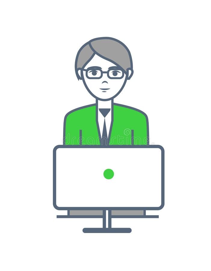 Male Smart Worker Working Laptop Isolated Vector. Male smart worker working by laptop isolated vector. Human wearing glasses and looking at screen of computer vector illustration