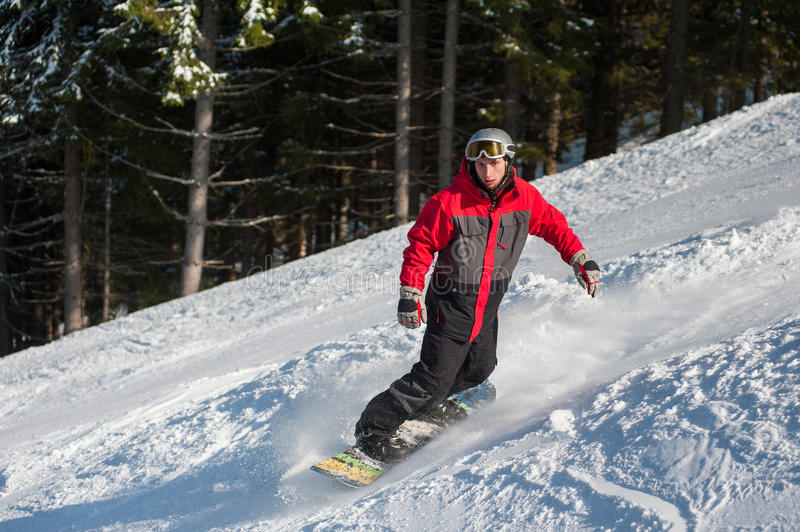 Male snowboarder slides down from the mountain. In winter day, overlooking the snowy slope and forest at a winter resort royalty free stock photos
