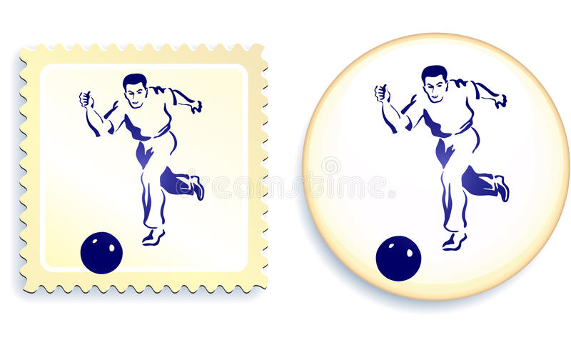 Male Soccer (football) Player On Stamp And Button Stock Photos