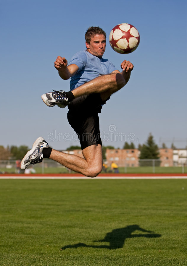 Male Soccer Kick Royalty Free Stock Photography