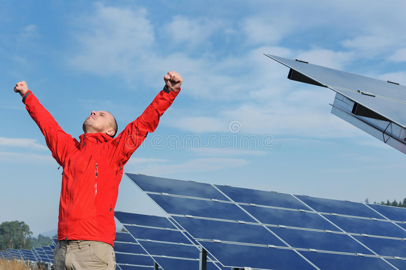 Male solar panel engineer at work place stock photos