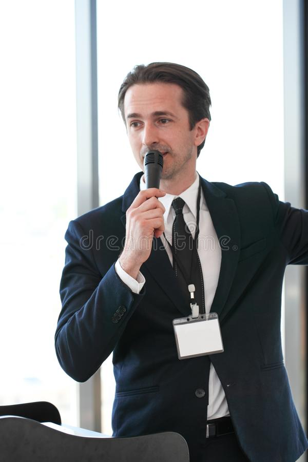 Male speaker at conference royalty free stock photos