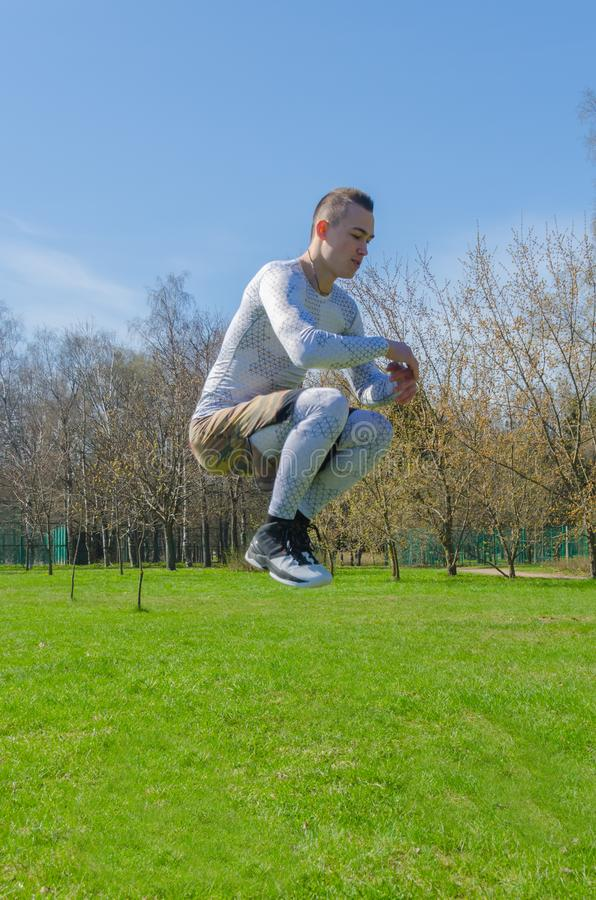 Male sportswear summer training in the Park royalty free stock photos