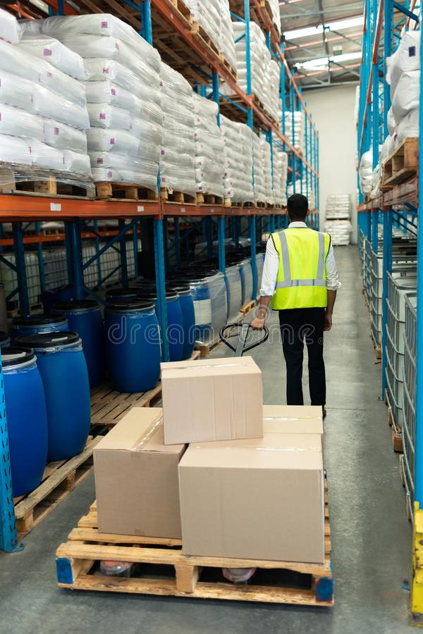 Male staff using pallet jack in warehouse. Rear view of Caucasian male staff using pallet jack in warehouse. This is a freight transportation and distribution royalty free stock photography