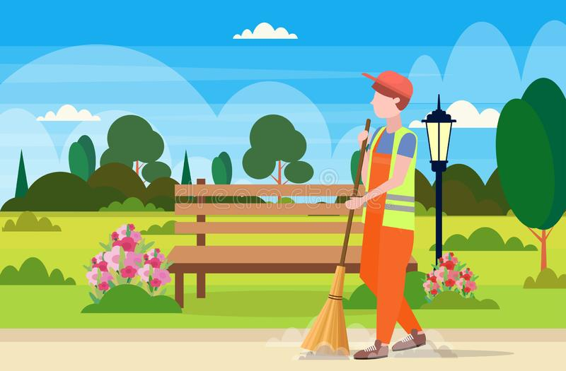 Male street cleaner holding broom man sweeping garbage cleaning service concept urban park landscape background full stock illustration