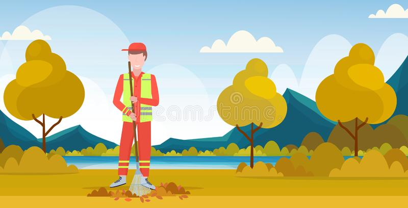 Male street cleaner holding rake man sweeping lawn raking leaves cleaning service concept city park landscape background. Full length flat horizontal vector vector illustration
