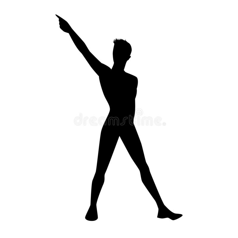 A male street dance hip hop dancer in silhouette vector illustration