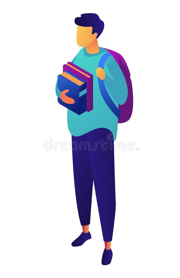 Male student with backpack holding books isometric 3D illustration. stock illustration