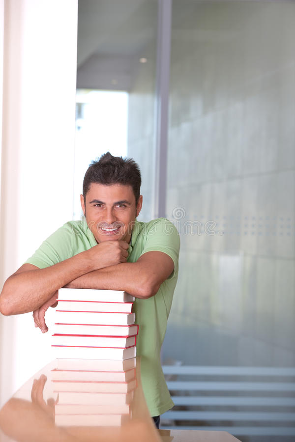 Download Male Student in library stock image. Image of caucasian - 9389543
