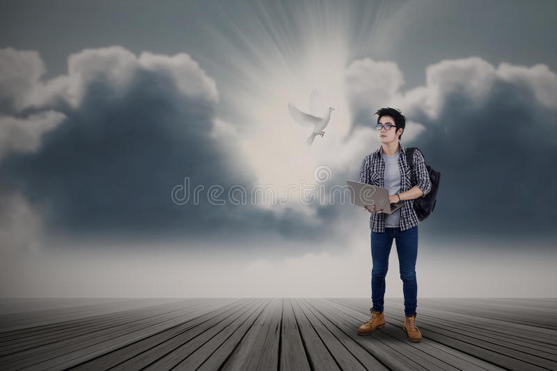 Male student looking at flying dove stock images