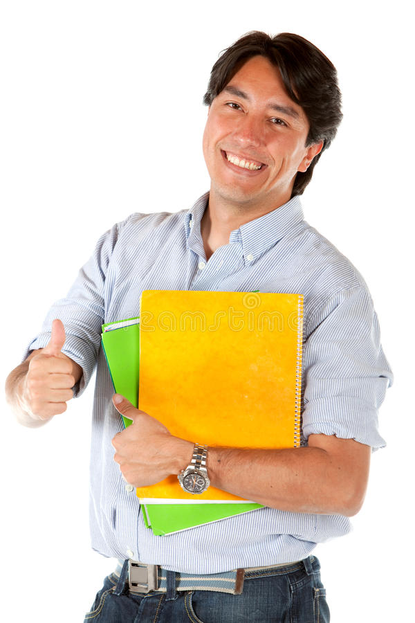 Download Male student with thumb up stock image. Image of american - 14480455