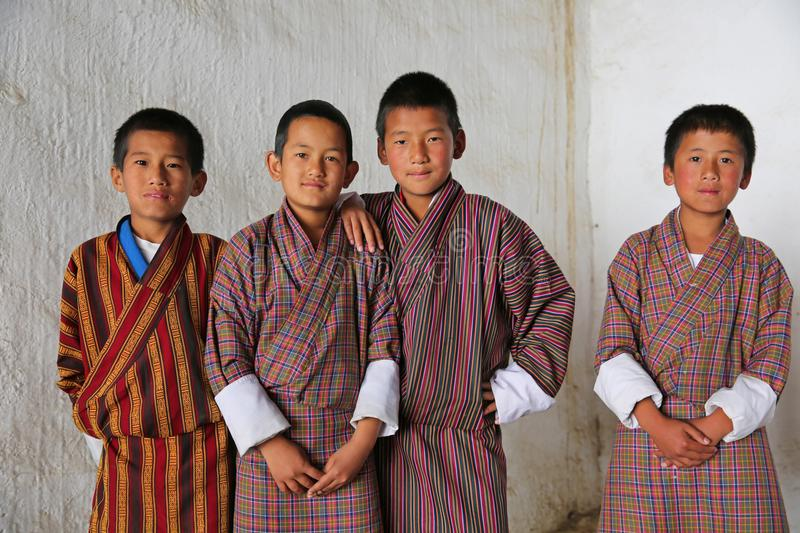 Male Students at Local Festival, Bhutan royalty free stock images