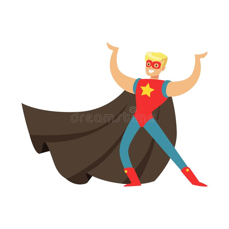 Male superhero in cape posing and showing muscles. Male superhero in classic comics costume with cape and mask. Smiling flat cartoon character with super powers vector illustration