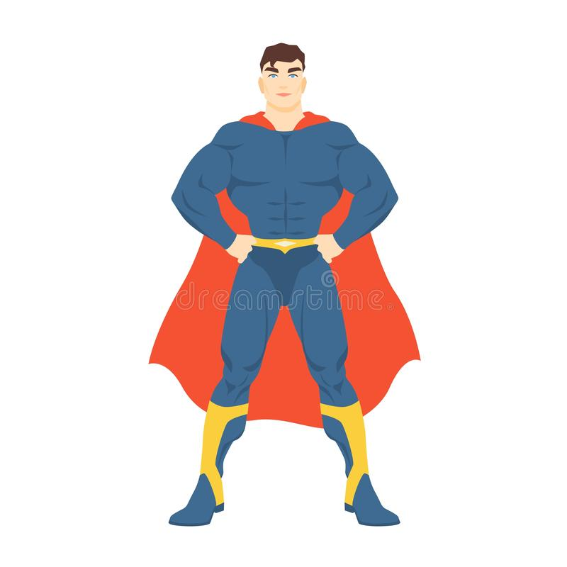 Male superhero or superman. Man with muscular body wearing bodysuit and cape standing in powerful posture. Fantastic stock illustration