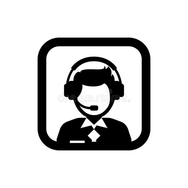 Male support service / customer care / customer service / administrator silhouette icon. Square icon. N vector illustration