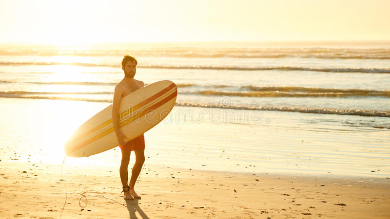 Male surfer walking on beach with surfboard at sunrise. Landscape image of male surfer busy walking on the beach at sunrise while carrying his surfboard under royalty free stock photos